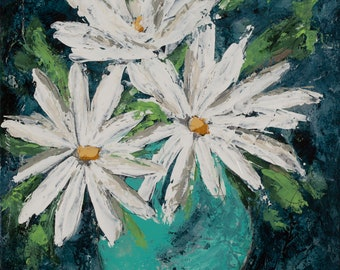 "Flowers, Daises, painting, abstract art, 3/4"" thick canvas, Love Myself"