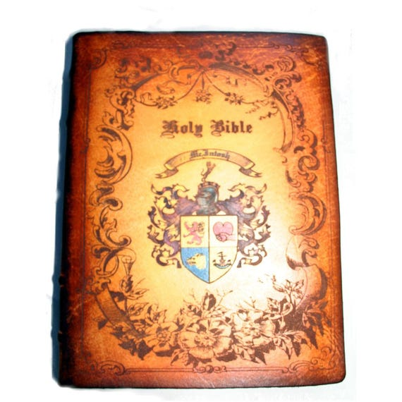 Heraldry Hand Embellished Leather Bible with Coat of Arms