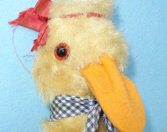 Girl Duck Doll, Vintage Gingham Dressed Stuffed Animal, Glass Eyes