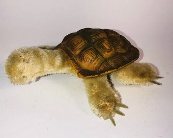 Steiff Turtle, Mohair with Rubber Shell, 5 Inches