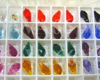 8p 11mm Swarovski Crystal 6000 Teardrop Beads Colors Loose Crystal beads jewelry making findings parts Tear Drop Shape, Water Drop Craft