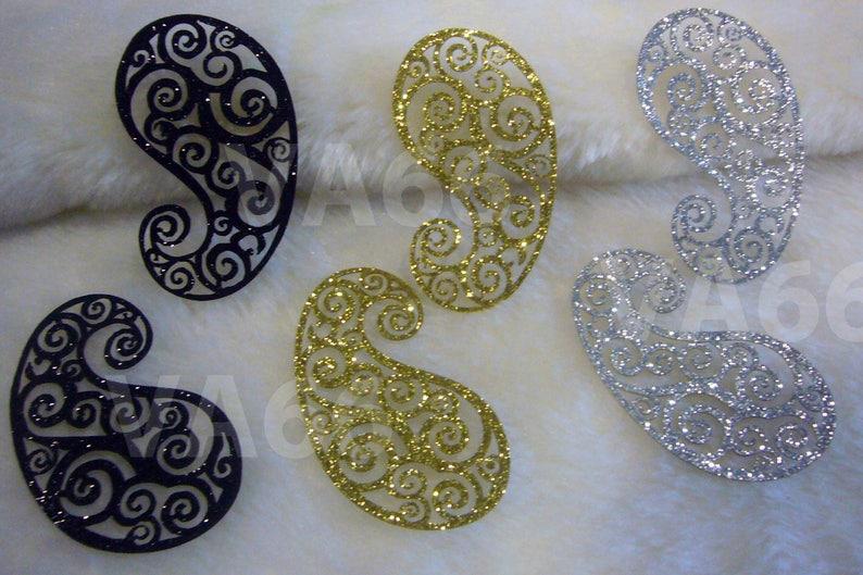 P glitter oro nero argento ferro su patch applique foglia etsy