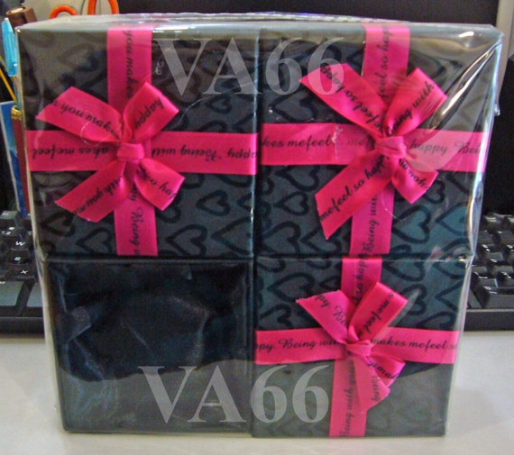 8p Black With Pink Ribbon Jewelry Gift Box Square Bracelet Box No Window For Bracelets With Ribbon N Bow Packaging Solutions