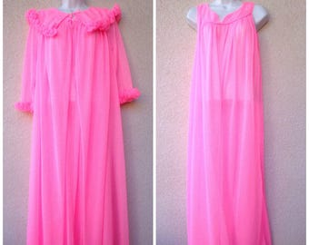 """1960s Nightgown & Peignoir Set. Bubblegun Pink Nightgown Peignoir Set. Silky Nylon Gown and Robe. Long Gown and Robe. Frilly Ruffles. B 52"""""""