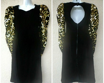 1980s PROM DRESS. 80s Party Dress. Black Velvet   Gold Sequin Dress. 80s  Prom Dress. Open Keyhole Back. Wiggle Fit. Puffy Sleeves. M 534d25747
