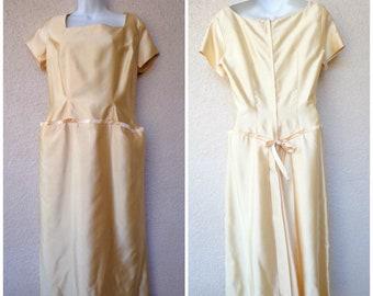 1950s Eleanor Green Liquid Satin Dress.Gold Satin Dress. 1950s Formal Gown. 1950s Evening Gown . Designer Eleanor Green Evening Gown. M to L