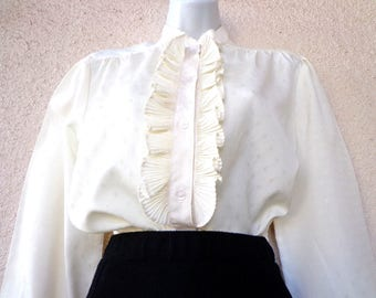 1970s Victorian Style Blouse High Neck Blouse Lac Collar Etsy
