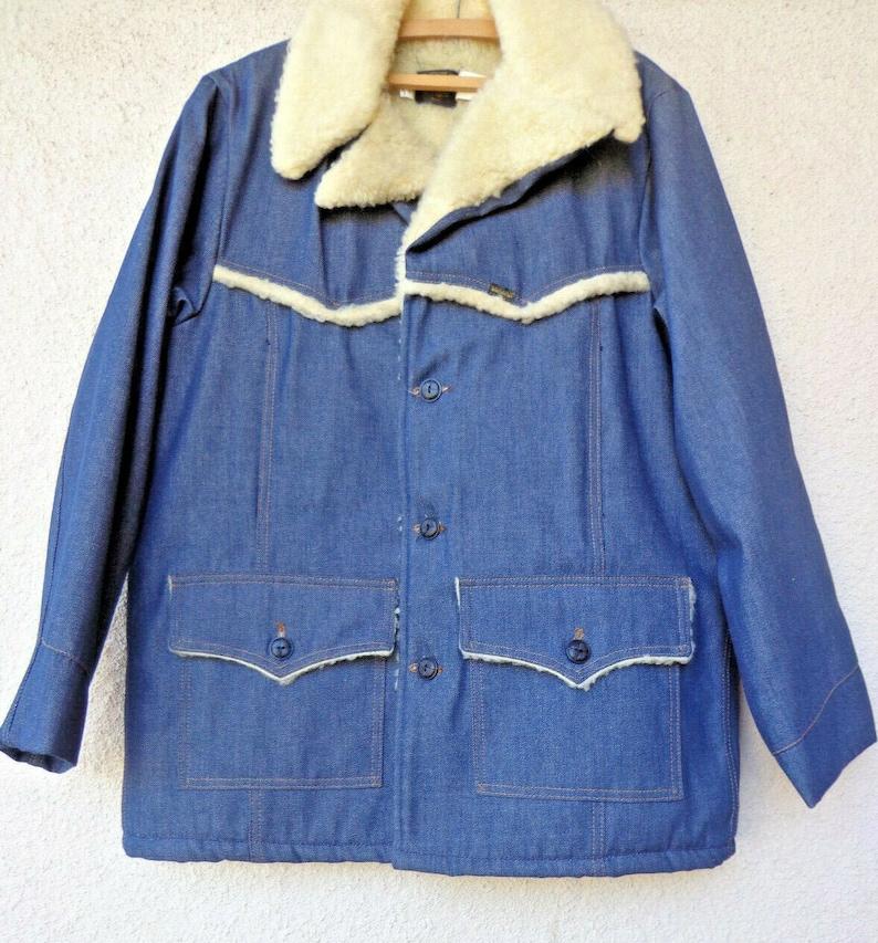 Size 44R Vintage Men/'s Roebucks DENIM CHORE COAT with Faux Sherpa Lining /& Trim