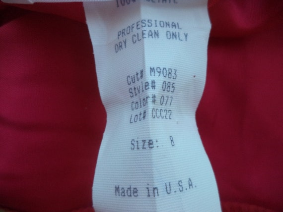 1980s Cocktail Party DRESS. Red & White Satin Pro… - image 10