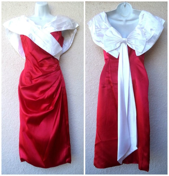 1980s Cocktail Party DRESS. Red & White Satin Prom
