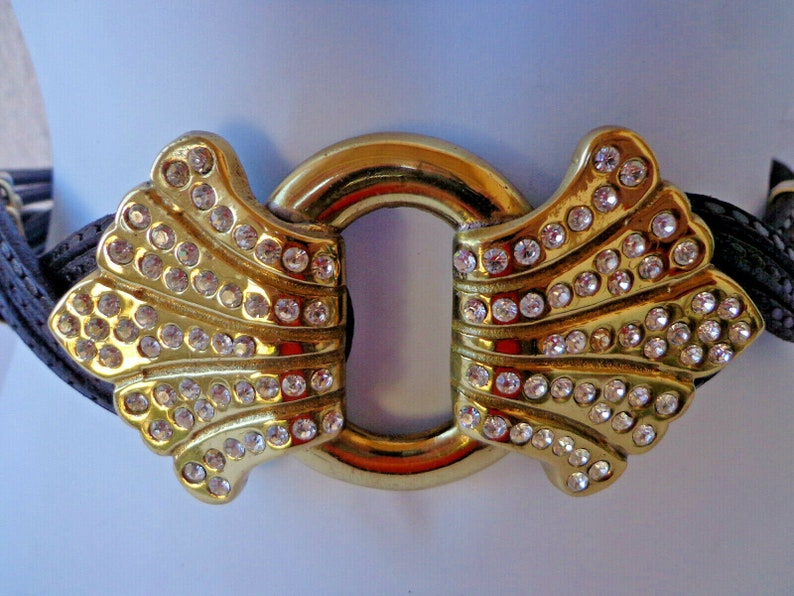 Made in Italy 30 Waist 1990s 5 Strand LEATHER BELT with a HUGE Goldtone  Rhinestone ABuckle