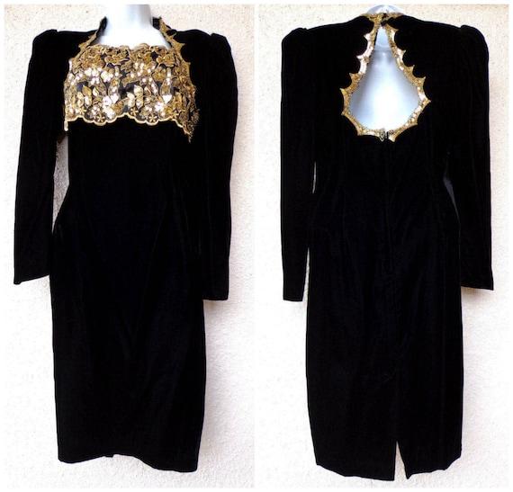 1980s PROM DRESS. 80s Party Dress. Black Velvet   Gold  6d7700db0