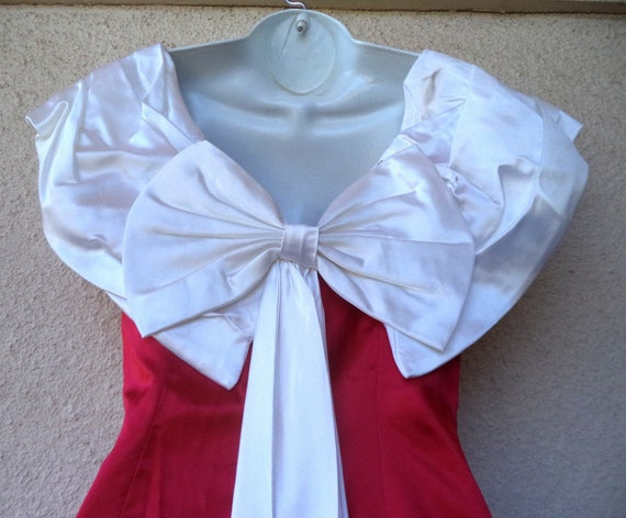 1980s Cocktail Party DRESS. Red & White Satin Pro… - image 6