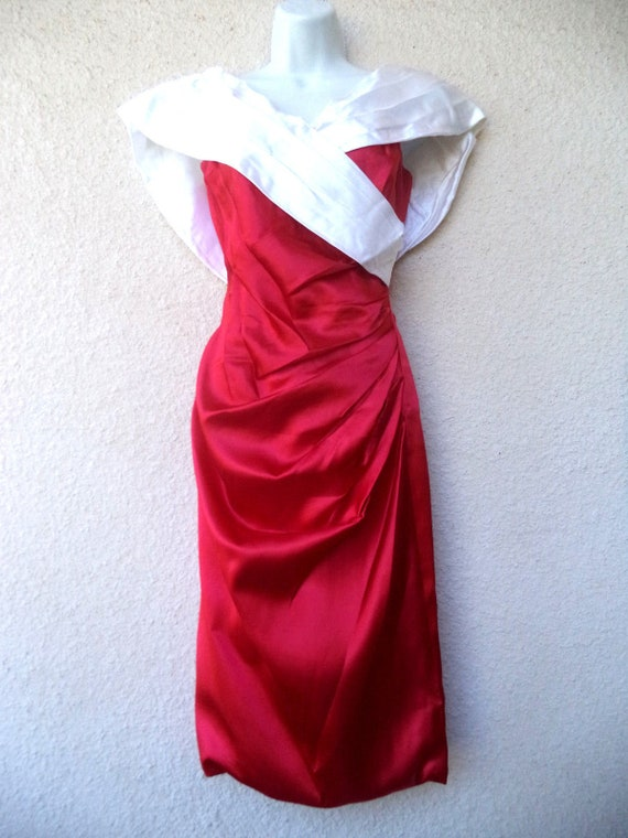 1980s Cocktail Party DRESS. Red & White Satin Pro… - image 2