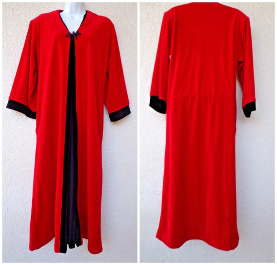 1980s Velour Robe Lounge Gown Housecoat Zip Front Robe Etsy