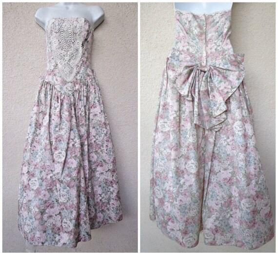 1980s PROM DRESS. 80s Party Dress. Strapless Dress. Romantic  b9a21f49e