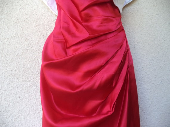 1980s Cocktail Party DRESS. Red & White Satin Pro… - image 4