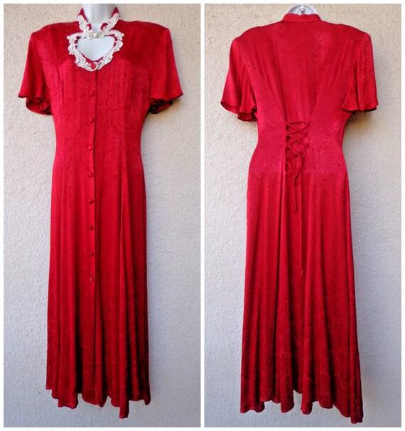 31dbdfcdff9 1990ER JAHRE MAXI-KLEID. Neo-viktorianischen Kleid. Korsett