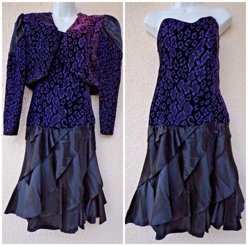 80s PROM Dress. Strapless Dress with Matching Bolero Jacket.  fc85a6f24