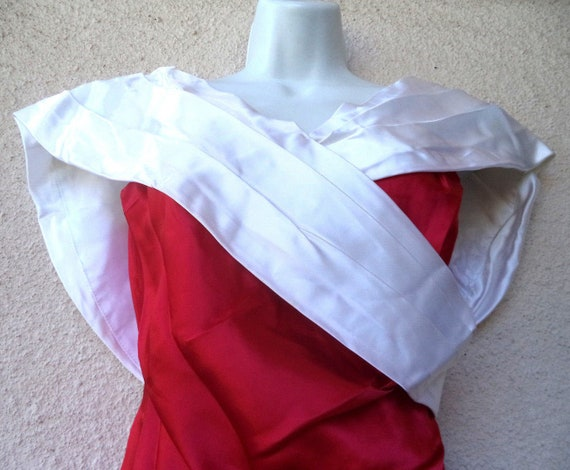 1980s Cocktail Party DRESS. Red & White Satin Pro… - image 3