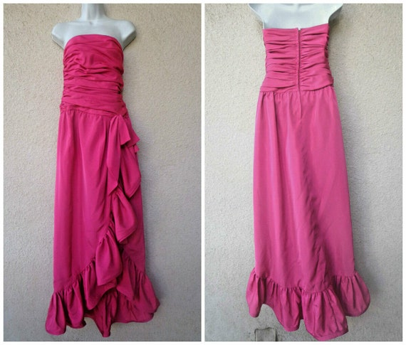 1980s PROM DRESS.Designer Victor Costa Formal Gown