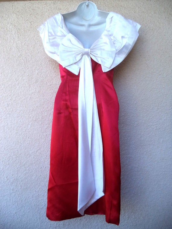 1980s Cocktail Party DRESS. Red & White Satin Pro… - image 5