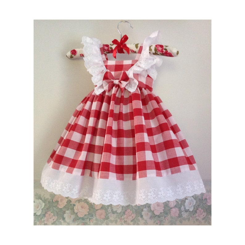 Red and White Checked Gingham Dress White Lace Frills Sun image 0