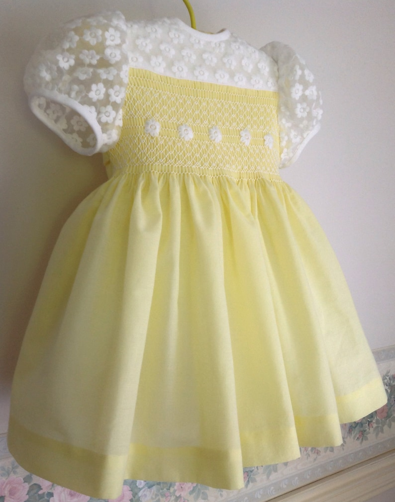 f6a23c7879f Hand smocked baby dress yellow and white Easter Dress Spring