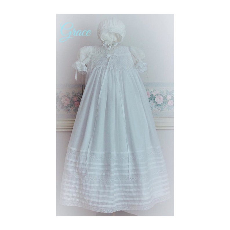 31704518bd8d Christening Gown Baptism white Swiss Cotton Voile Heirloom