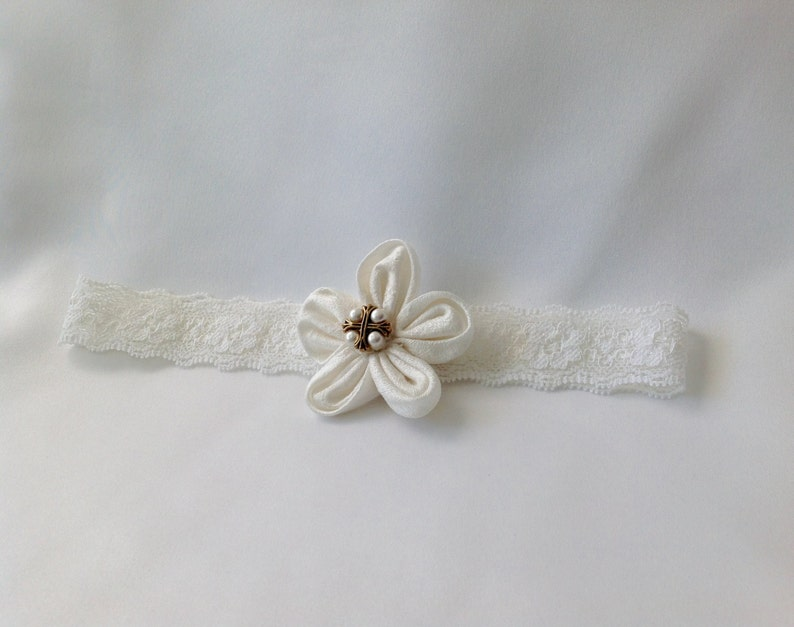 Dedication Ready to Ship Baby Headband for Baptism Blessing Handmade Size 6 months Christening Headband Ivory Silk Flower with Cross