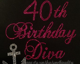 Fabulous At 40 Rhinestone Tee 40th Birthday Diva Bling Tank Cruise Shirt