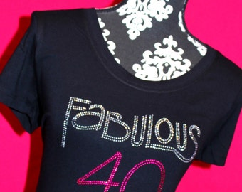 Fabulous At 40 Rhinestone Tee Bling Tank Shirt 40th Birthday