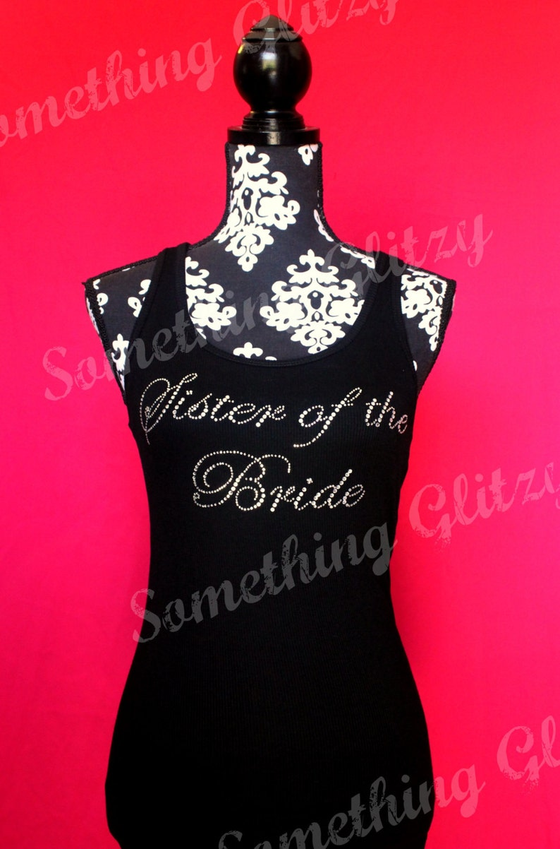 New Juniors Rhinestone AUNT OF THE BRIDE Tank Top Shirt Wedding Gift Bling