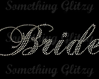 Bride Large Script Rhinestone Iron On Heat Transfer - DIY