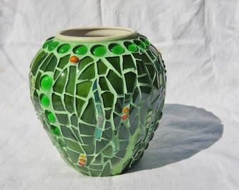 Summer Meadow, glass mosaic vase
