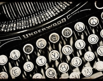 "Typewriter Print, Black and White Photography, Still Life Photography ""Underwood antique typewriter"" Fine Art Photography Mad Men"