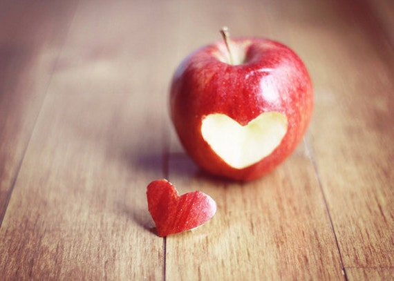 Food Photography Kitchen Art: Red Apple heart Fine Art | Etsy
