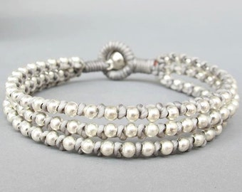 Friendship Multi Line Grey  Wax Cord Bracelet