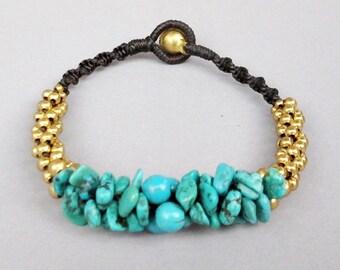 Nugget and Bead Turquoise Stud Bracelet B142