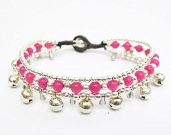 Bead Bracelet - Hippie Summer Bracelet with Silver Color Bells and Pink Quartz Stone bead.