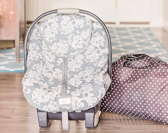 Winter Carseat Cover Igloo Carseat Cover-Grey & White Damask with Grey Minkee