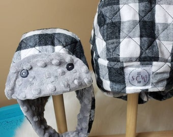 Winter Trapper Hat 12m-2t Black and White Buffalo Check with Grey Minky