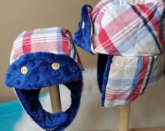Winter Trapper Hat 12m-2t in Navy, Red and Khaki Plaid with Navy Minky