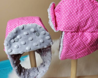 Winter Trapper Hat Newborn in Pink and White Polka-dot with Grey Minky
