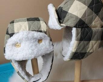 Winter Trapper Hat Newborn in Charcoal and Cream Buffalo Check with Cream Minky