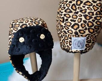 Winter Trapper Hat Newborn in Leopard print with Black Minky