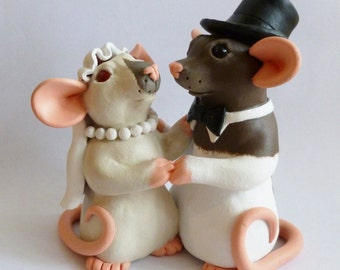 CUSTOM  Rat Wedding Cake Topper Fancy Rat Wedding Decoration Sculpture