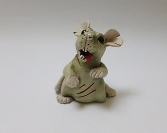 Zombie Rat Sculpture Pet Rat Ornament Horror Fancy Rat Mouse Figurine