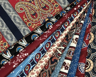 SALE! 12 ~ Civil War Reproduction Quilt Fabric Fat Quarters ~ Red and Blue STASH BUILDER ~ Marcus Brothers & Andover ~ Reds and Blues