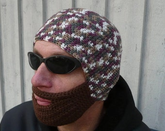 1b11d5b08bf Mens Christmas gift Knitted hat with beard Adult Warm Winter Hat Beanie  Snowboard Ski Hat unisex